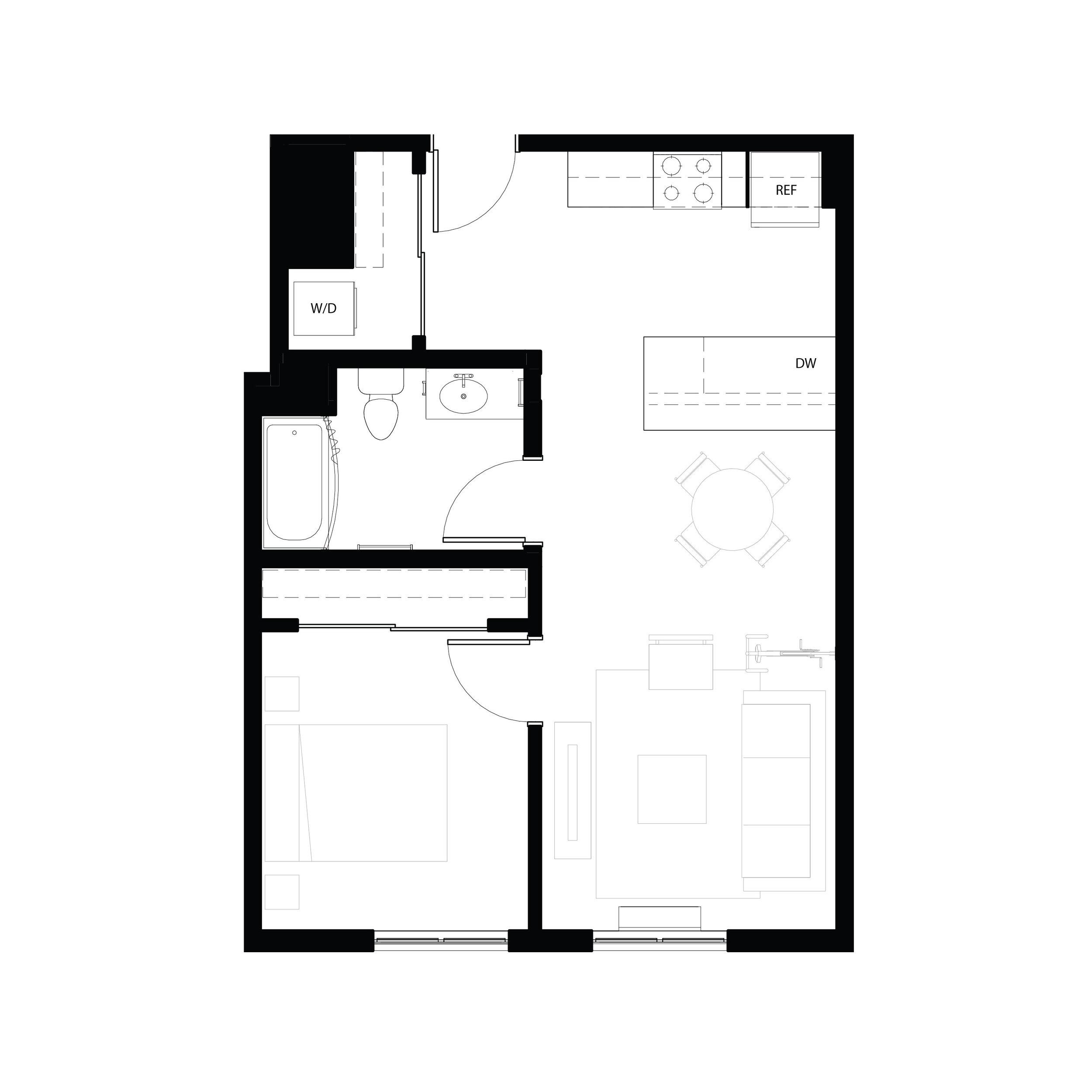 One bedroom 631 sq ft