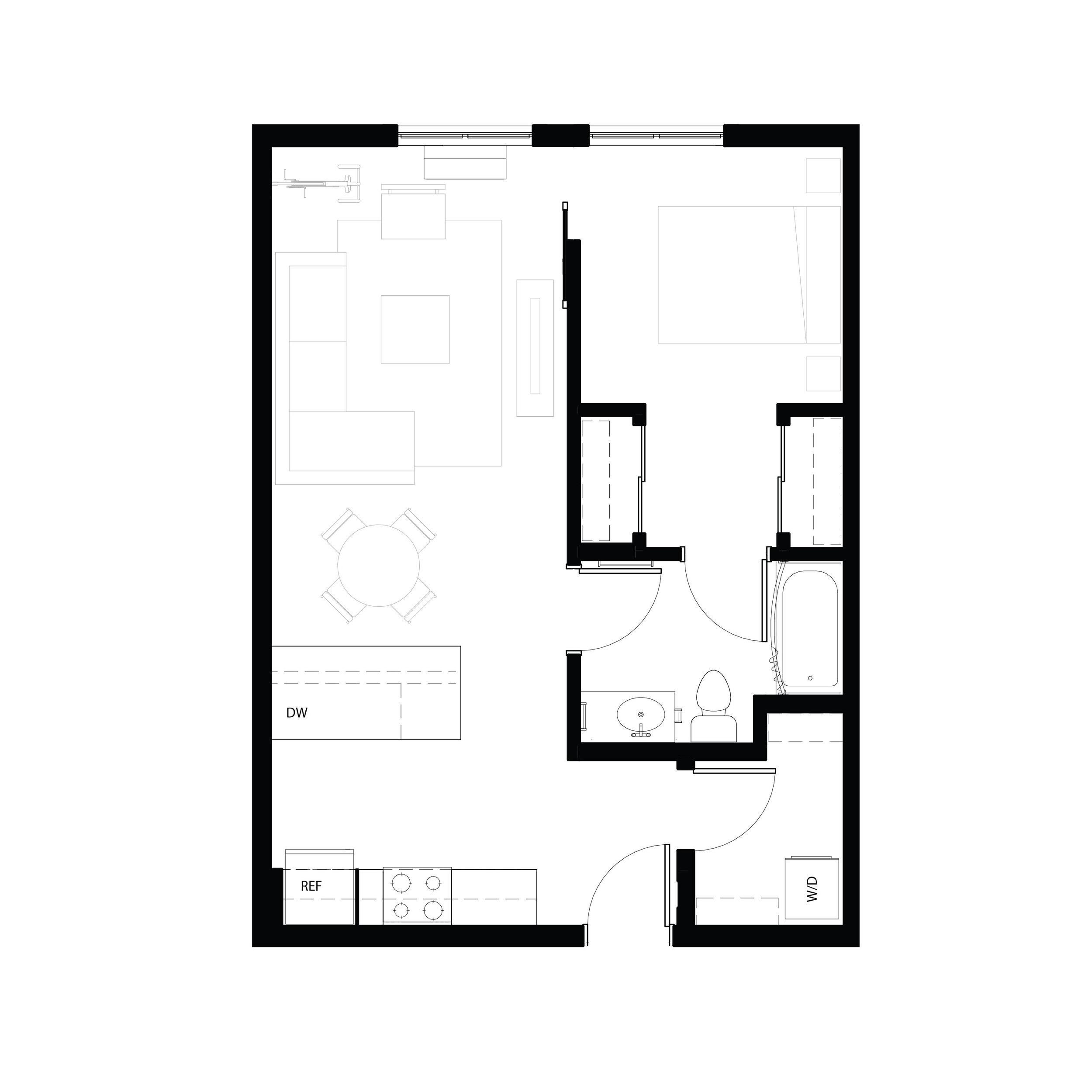 One bedroom 650 sq ft