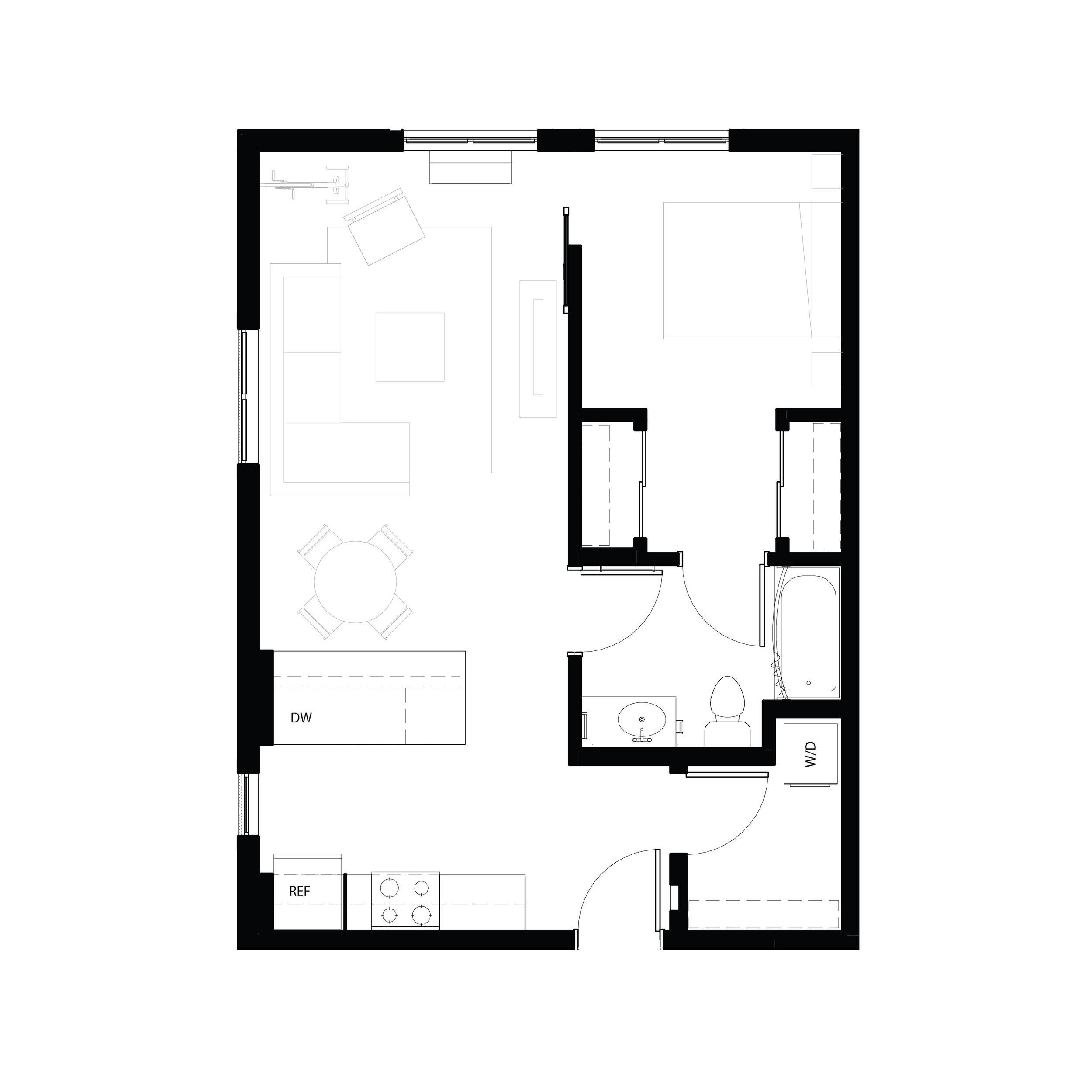One bedroom 670 sq ft