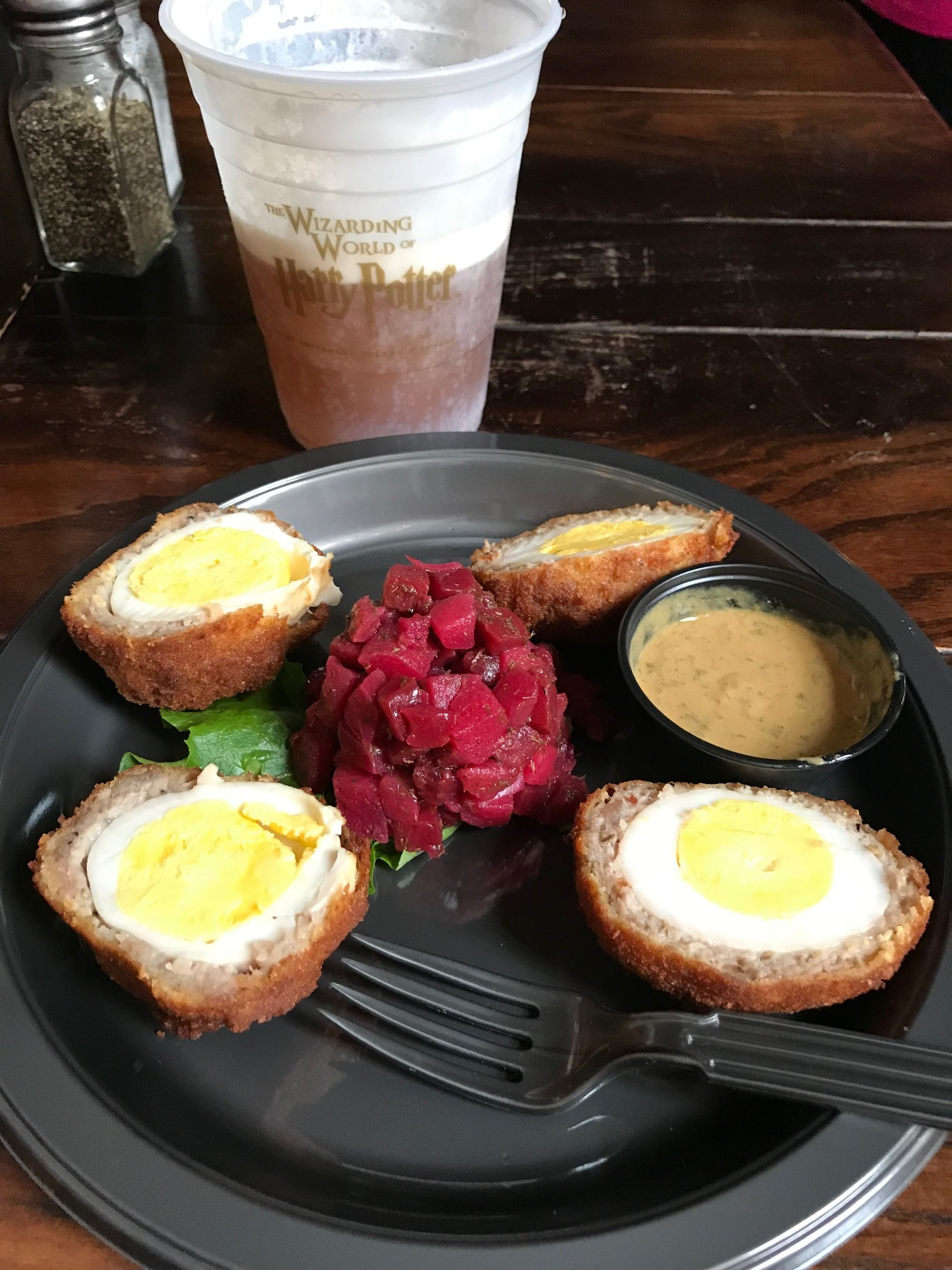 Scotch Eggs - With apple beet salad and ButterBeer