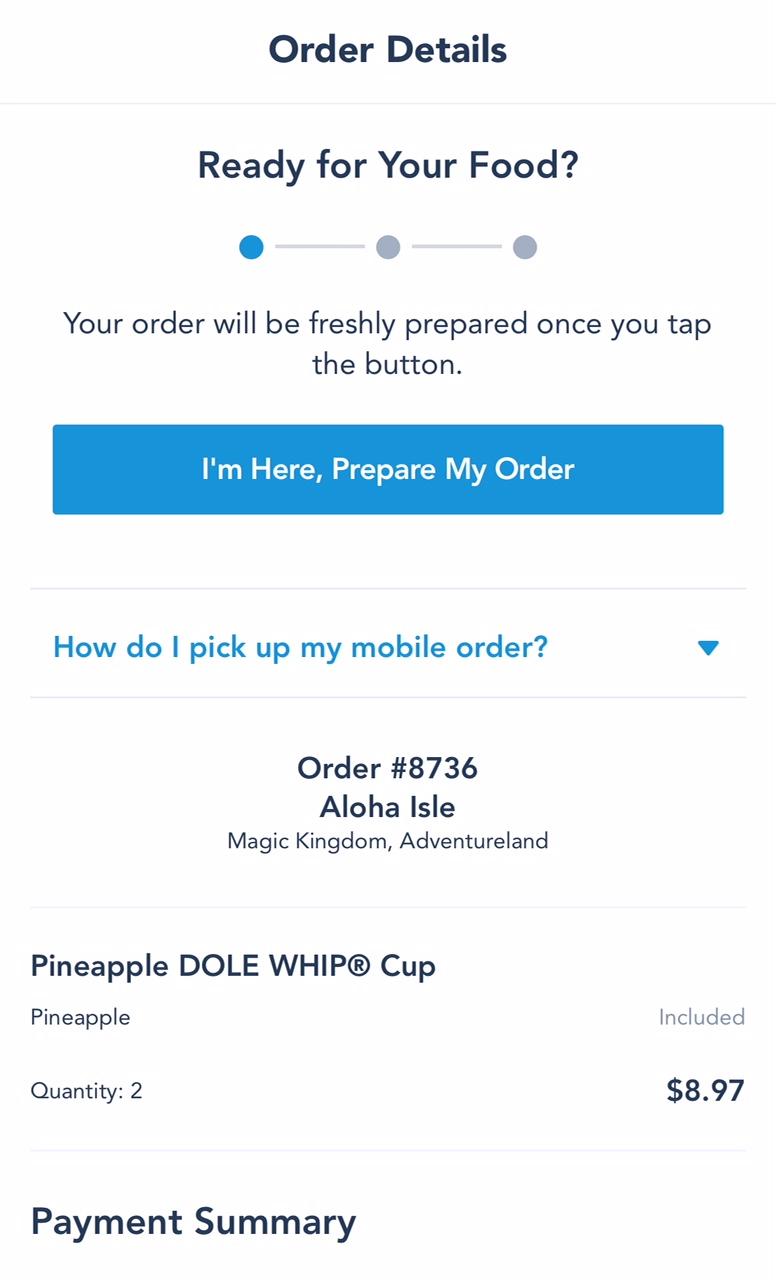 MyDisneyExperience App Mobile Ordering Order Details