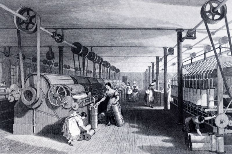 This steam-powered cotton factory, pictured in 1830, relied on an intricate set of belts and gears.