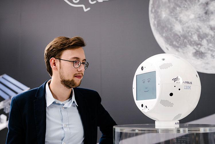 "CIMON and his human ""father"" Matthias Biniok, a Watson IBM architect in Germany."