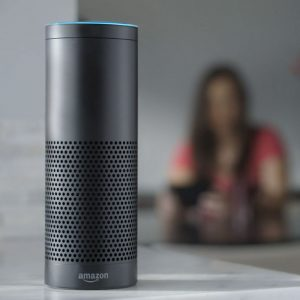 An Amazon.com Echo device that uses the Alexa voice assistant.
