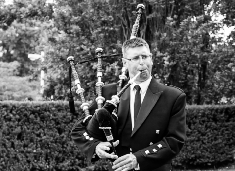 Steve Turner, bagpiper at the House of Piping