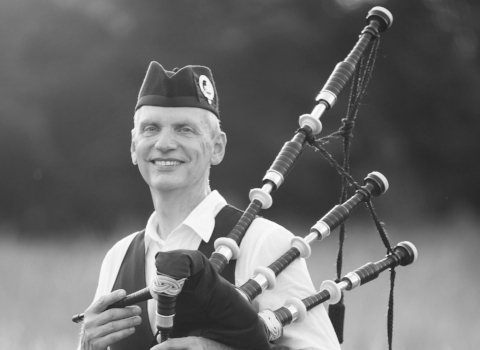 Rob Rogers, bagpiper at the House of Piping