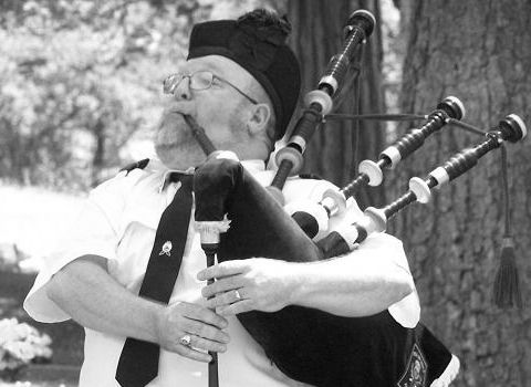 Mark Little, bagpiper at the House of Piping