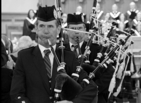 Don Shannon, bagpiper at the House of Piping