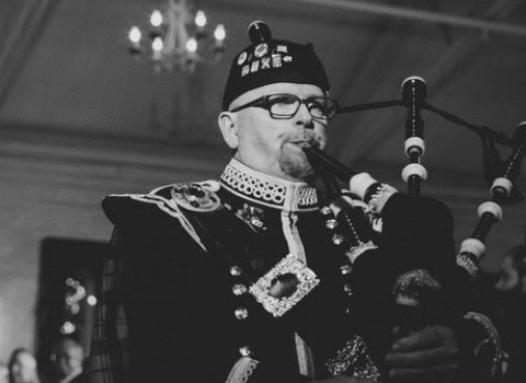 Rufus Campbell, bagpiper at the House of Piping