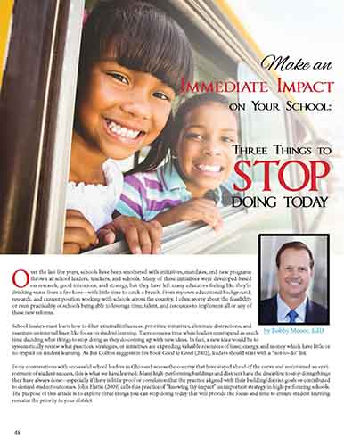 Make an Immediate Impact on Your School: Three Things to Stop Doing Today    Ohio Association of Elementary School Administrators Navigator Journal