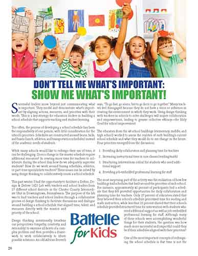 Don't Tell Me What's Important: Show Me What's Important!    Ohio Association of Elementary School Administrators Navigator Journal