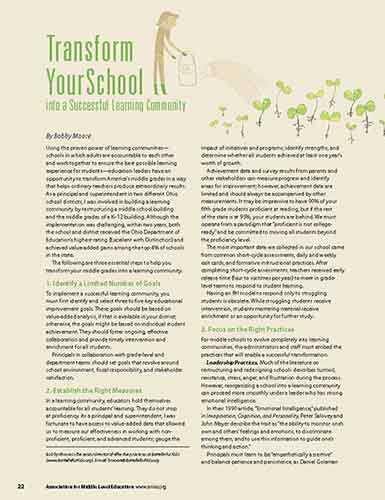 Transform Your School into a Successful Learning Community    Association for Middle Level Education