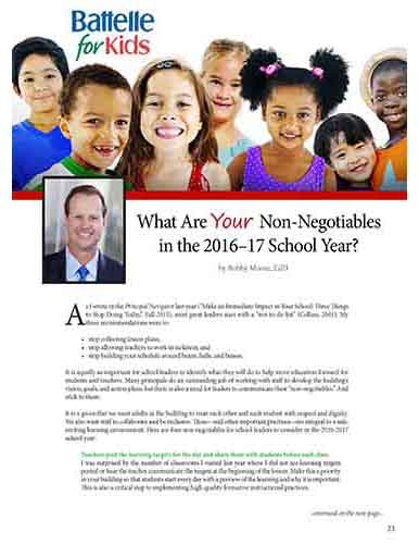 What Are Your Non-Negotiables in the 2016–17 School Year?    Ohio Association of Elementary School Administrators Navigator Journal