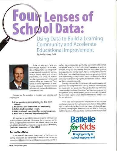 Four Lenses of School Data: Using Data to Build a Learning Community and Accelerate Educational Improvement    Ohio Association of Elementary School Administrators Navigator Journal