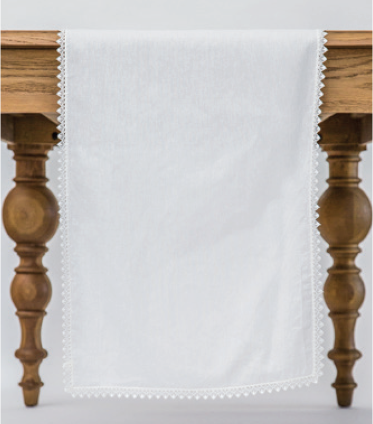 Ivory Lace Trim Runner