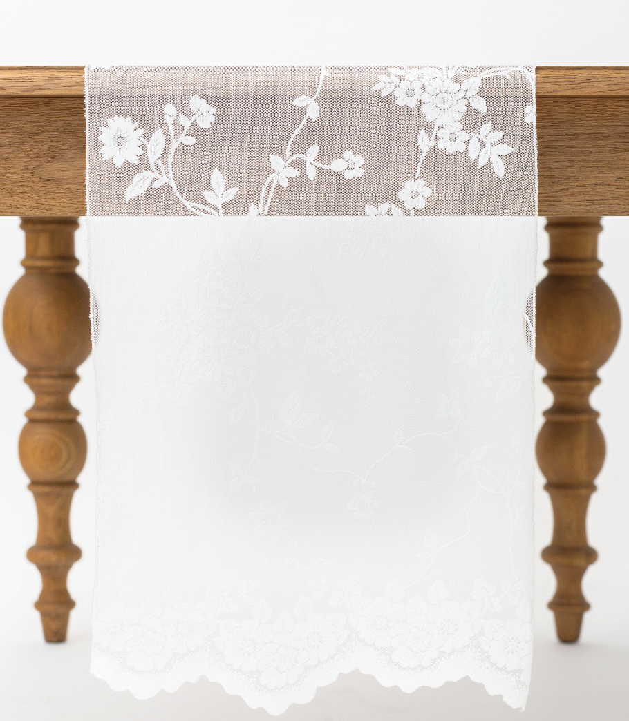 Ivory Floral Lace Runner