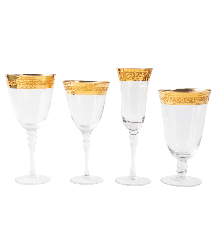 Elizabeth Wide Gold Rim Glassware