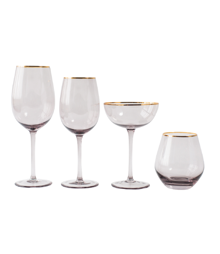 Grey Lauren Gold Rim Glassware