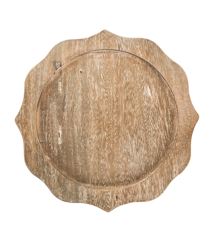 Antonia  Grey Wooden  Charger