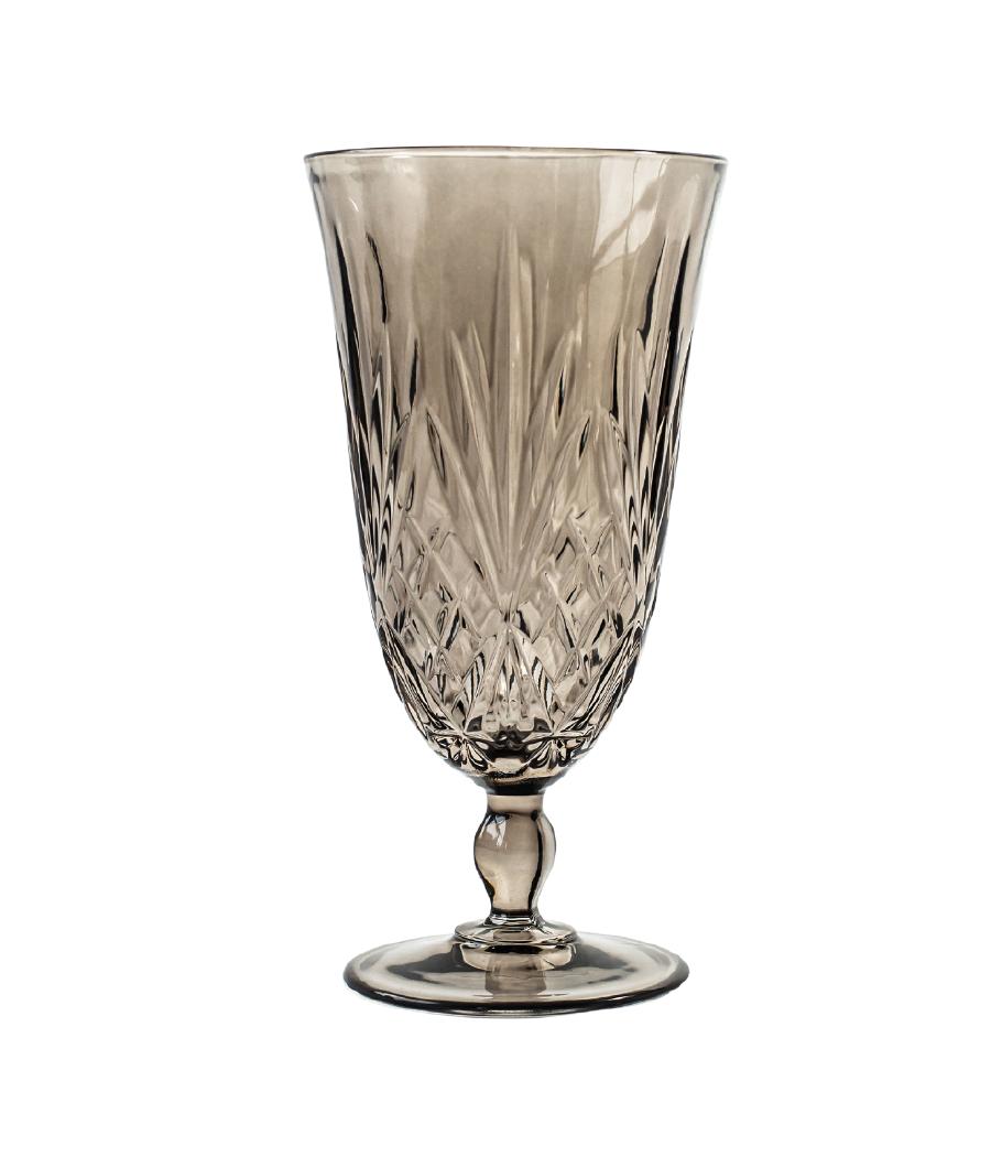 Grey Scarlett Crystal  Cut Water Goblet