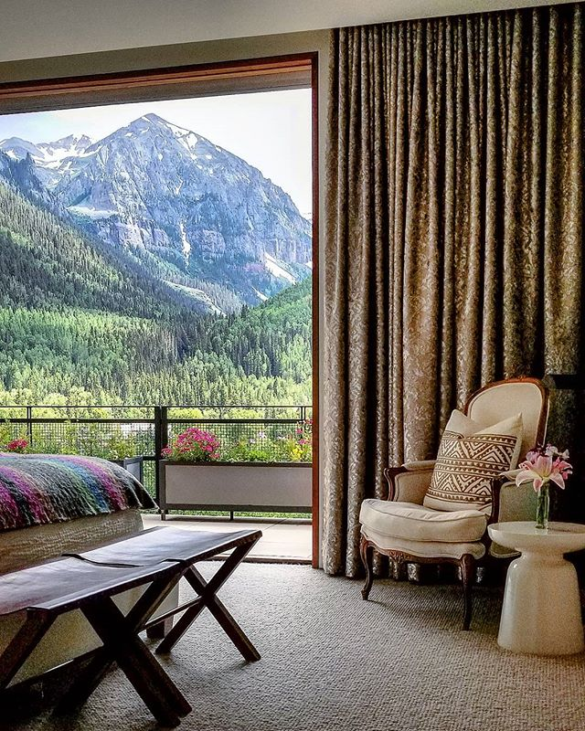 A room with a view! One of the many beautiful ones I visited during Telluride's Art and Architecture Weekend.  #artandarchitecture #telluride #interiors #roomwithaview #inspired #instaphoto #instapic #travel #explore #wander #designlife #goodlife #naturesbeauty #thankful #beautiful #weekend #mountains
