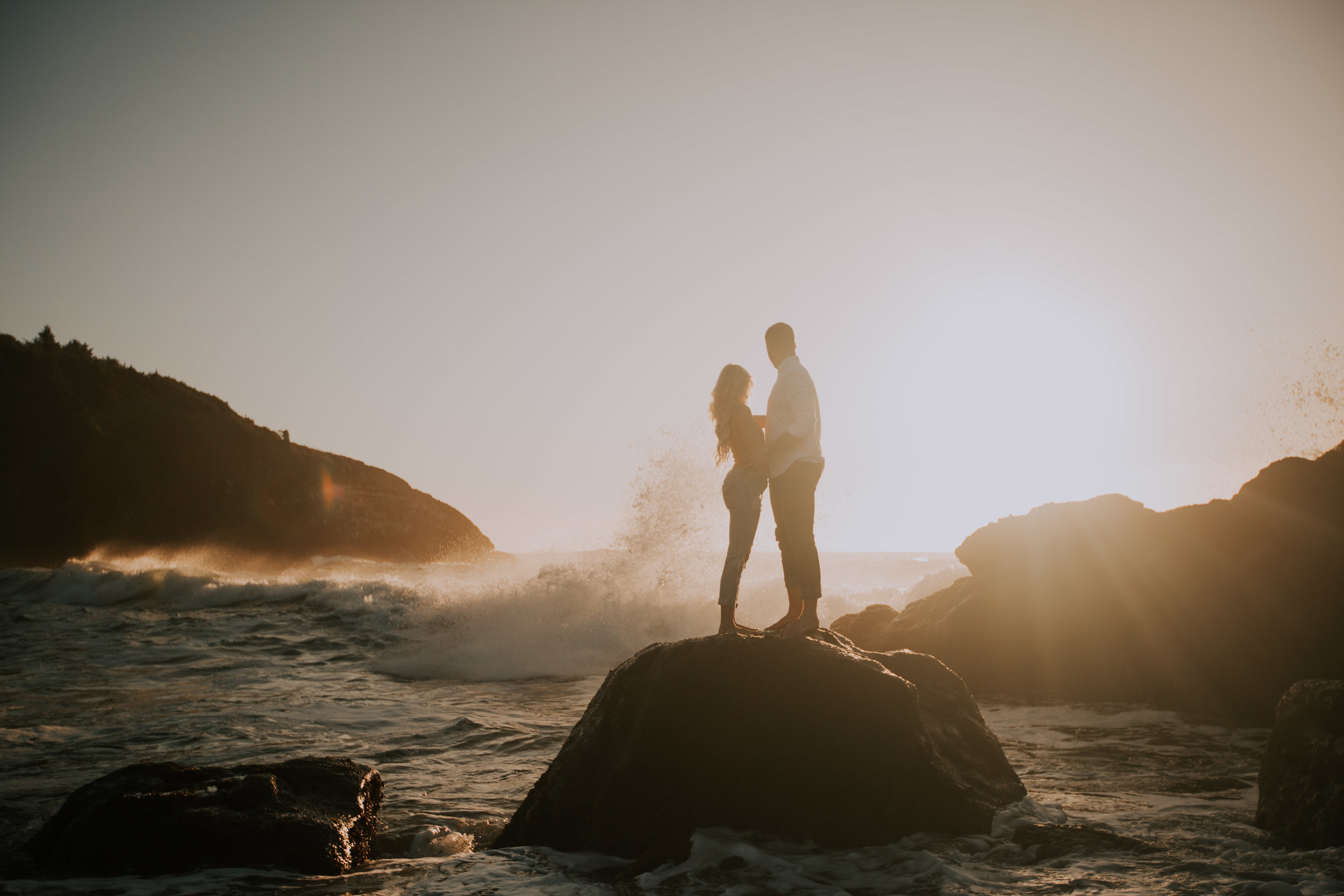 A couple at their Oregon Coast engagement session