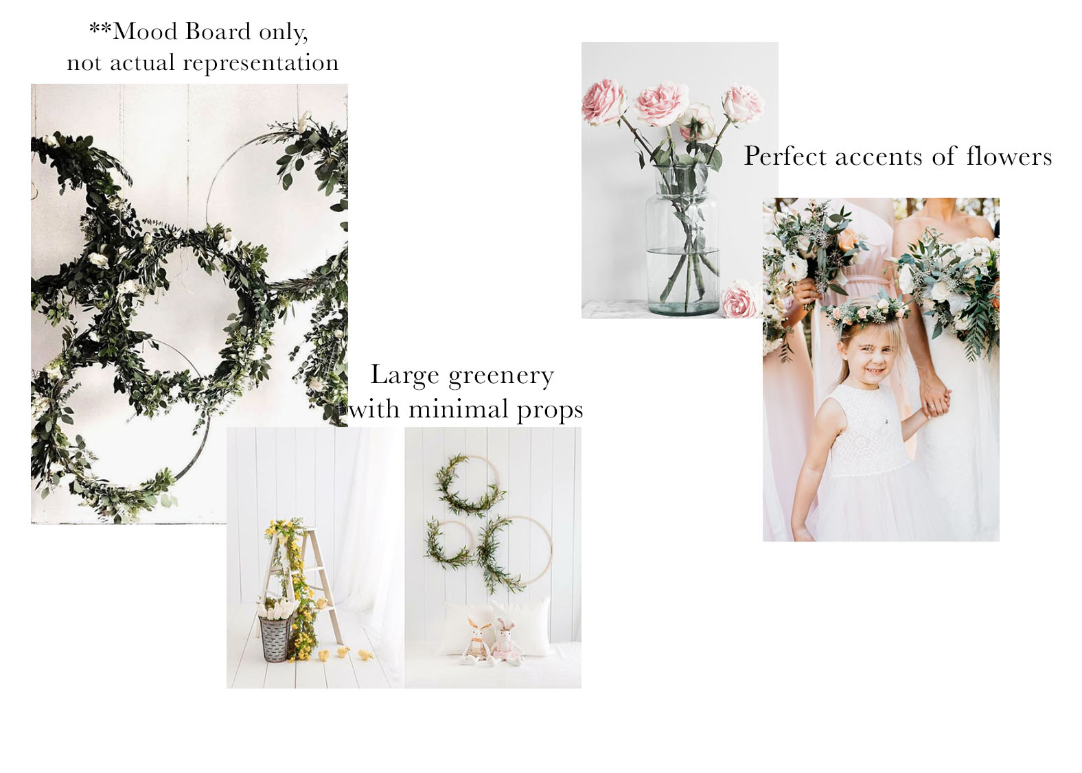 All white Studio Space + Fresh Greenery - Small props such as pillows and roses may be used.