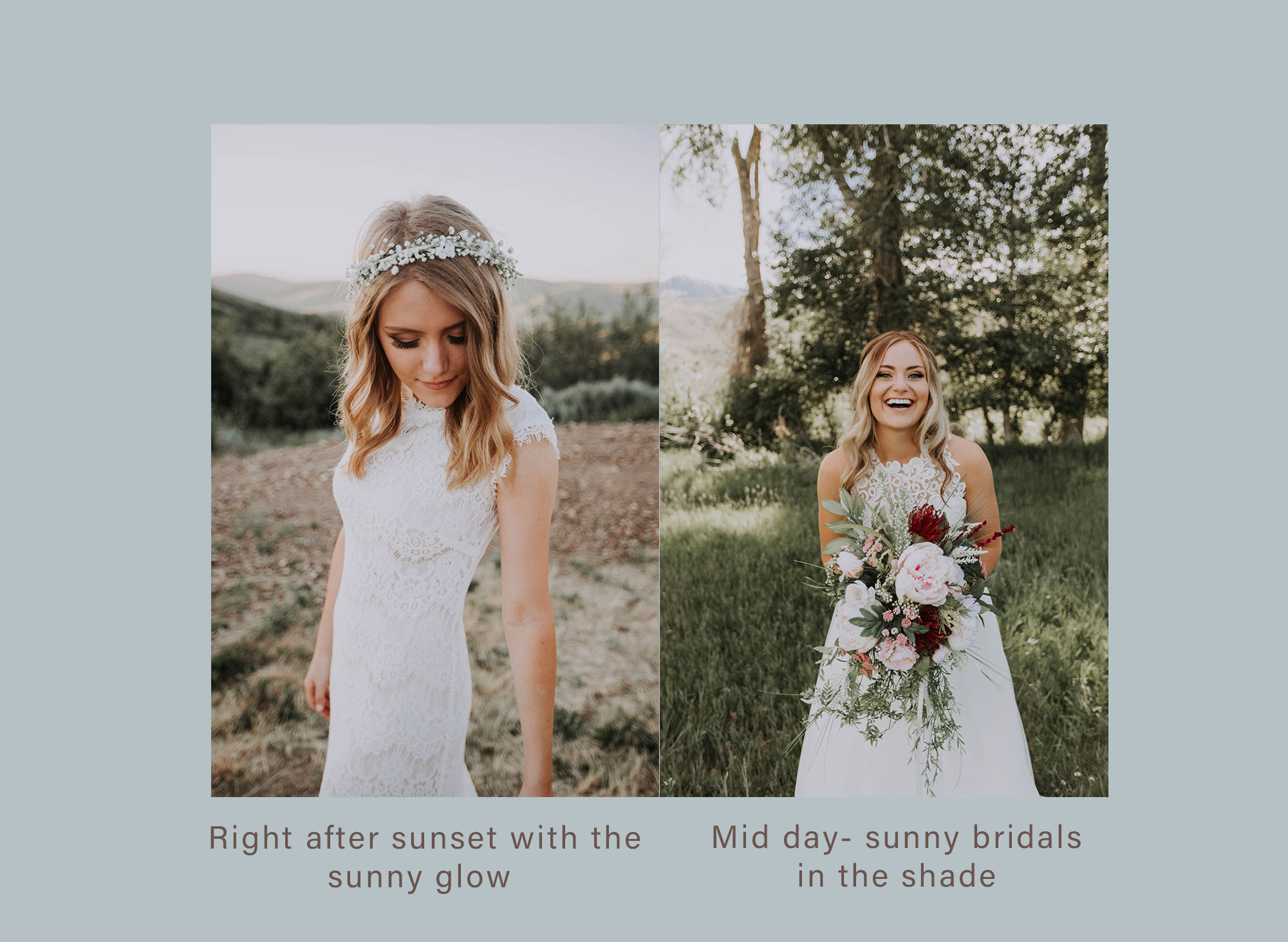 Here is a good example of 2 situations where lighting is beautiful and perfectly planned - Whether its in the shade or with golden light, planning for this made it much easier to capture beautiful photos in perfect light.