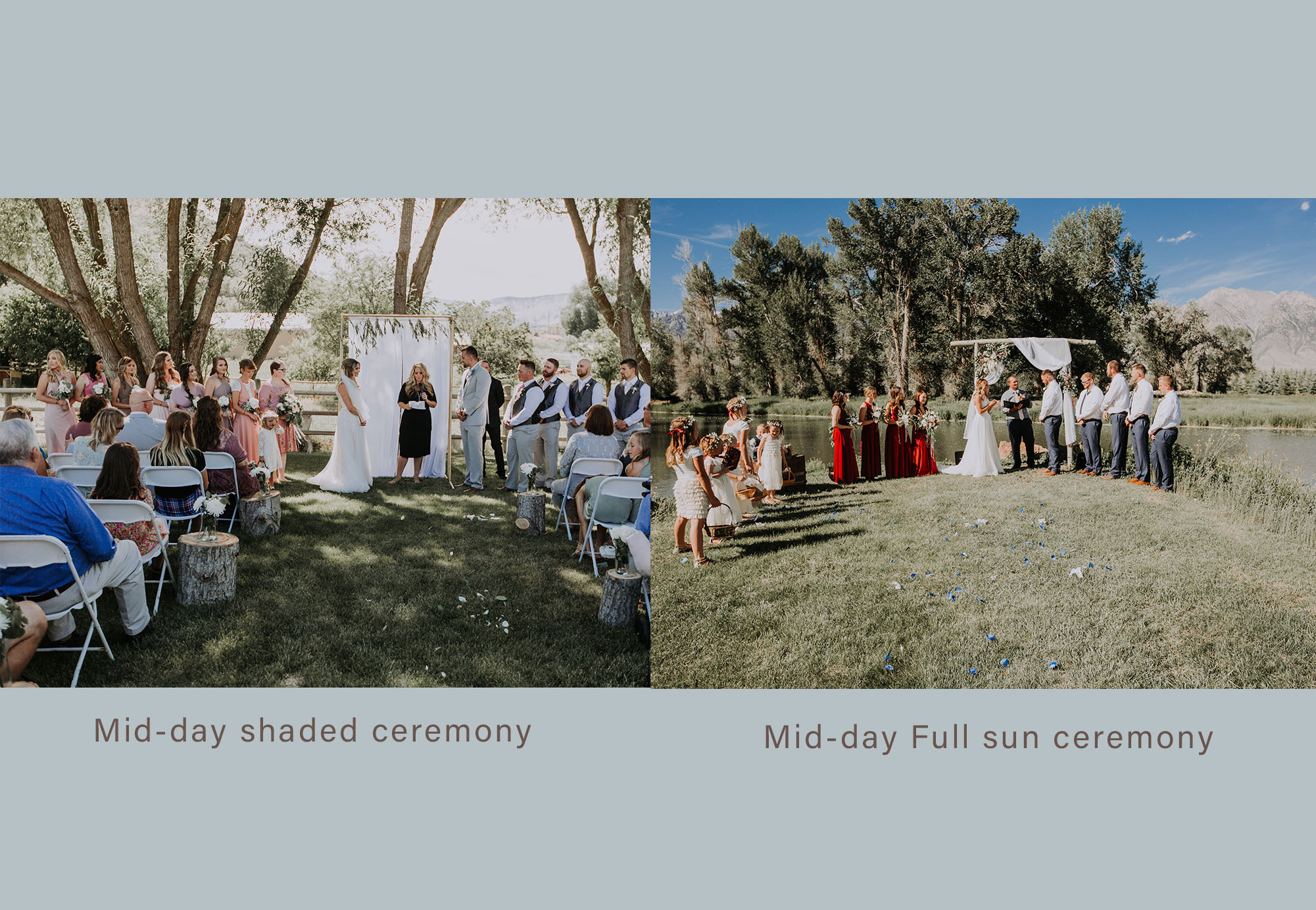 Here is an example harsh vs shaded lighting - both weddings were mid summer*