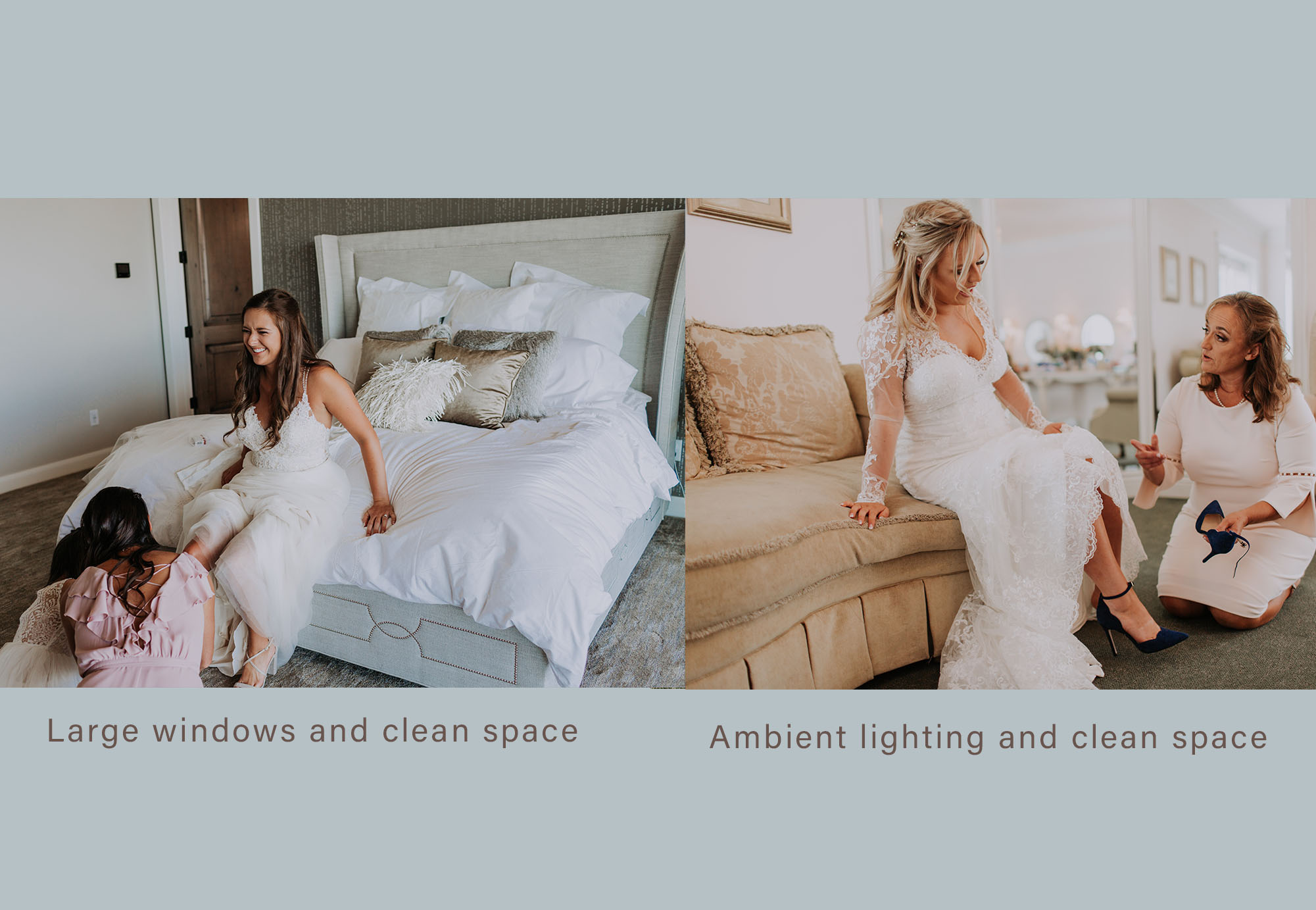 Here is what a clean space and large windows will do to photos. - Great lighting & beautiful skin tones. the rest of the lighting and tones is left to the room design.