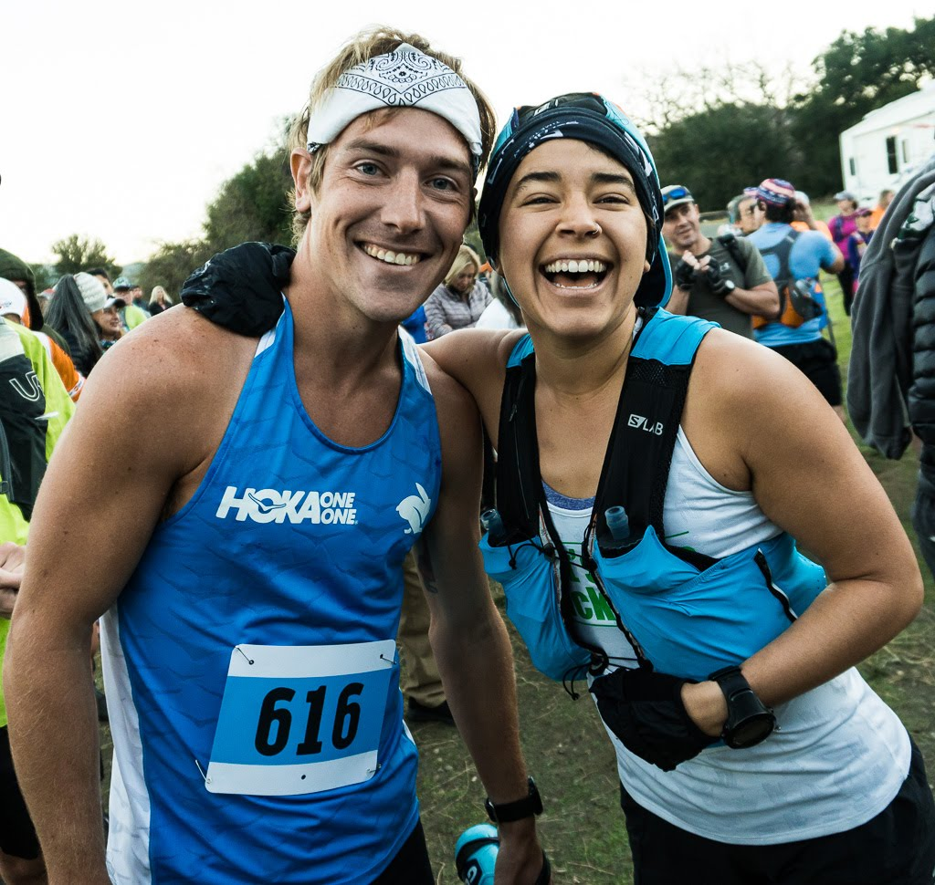 Murillo at the SOB 50K start with  Kris Brown , Hoka athlete and Rabbit Pro.
