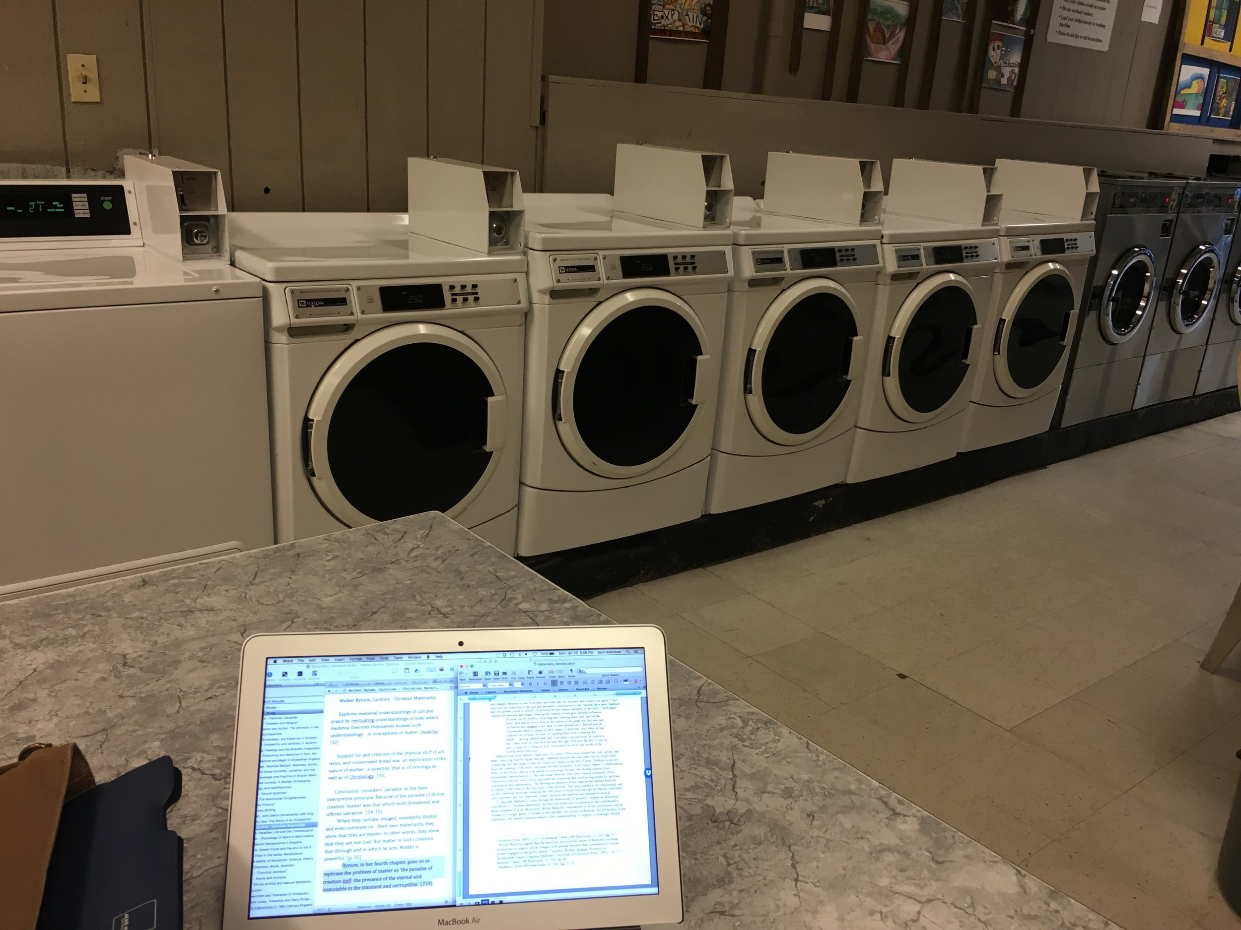 Dissertating in the laundromat.