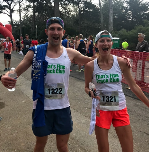 Doug with his wife Isabel after both set big PRs at the Kaiser Permanente Half Marathon. Photo:  TFTC .