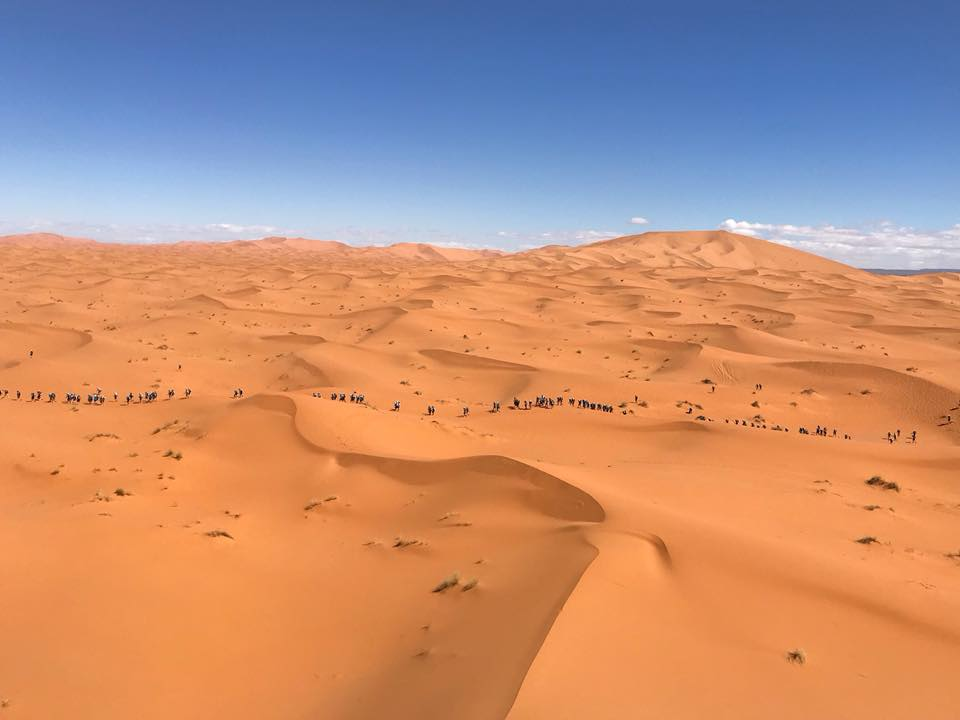 Runners navigate the sheer expanse of the Sahara.  Photo: CIMBALY/MDS2018.