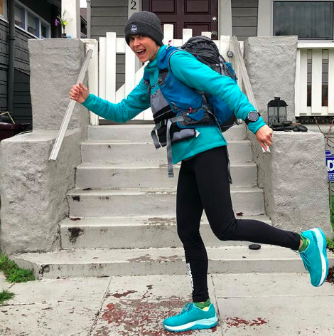 Magda, prepping for MdS.  Photo: @RunBoulet