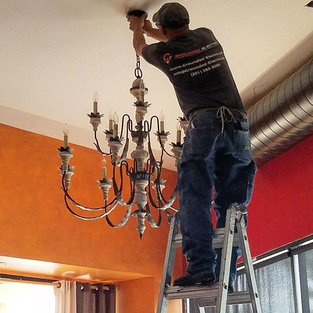 Getting some chandeliers up for a client early on a Monday - Rise and Grind! #mondaymotivation #mondaymorning #mondayfun #riseandgrind #electrical #electric #electrician #chandelier #lighting #newjersey #nj #bergencounty #creskill
