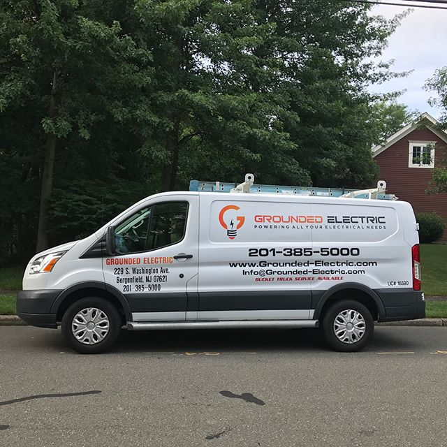 Our ride looking mighty fine with the new wrap. #theyseemerollin #electric #electrical #electrician #van #fordtransit #newjersey #nj #bergencounty #passaiccounty #carwrap