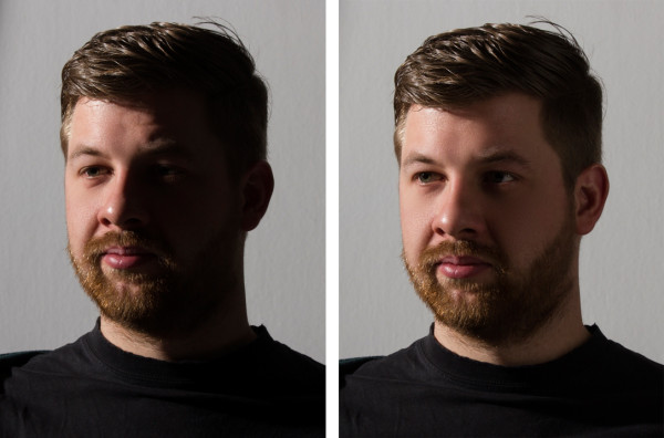 Short lighting without and with fill.