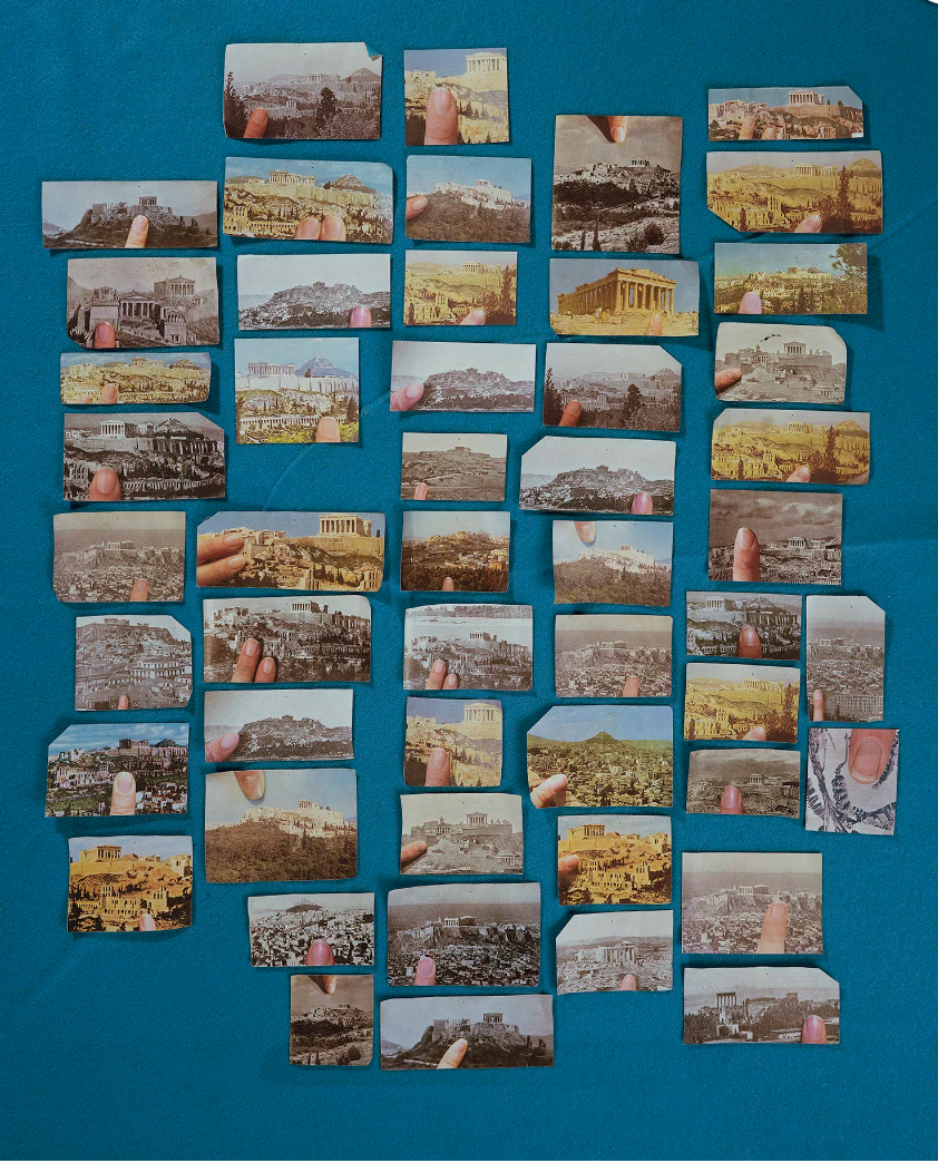 Sara Cwynar,  Encyclopedia Grid (Acropolis) , 2014, chromogenic print mounted to Plexiglas, 40 × 32 in. (101.60 × 81.28 cm.,
