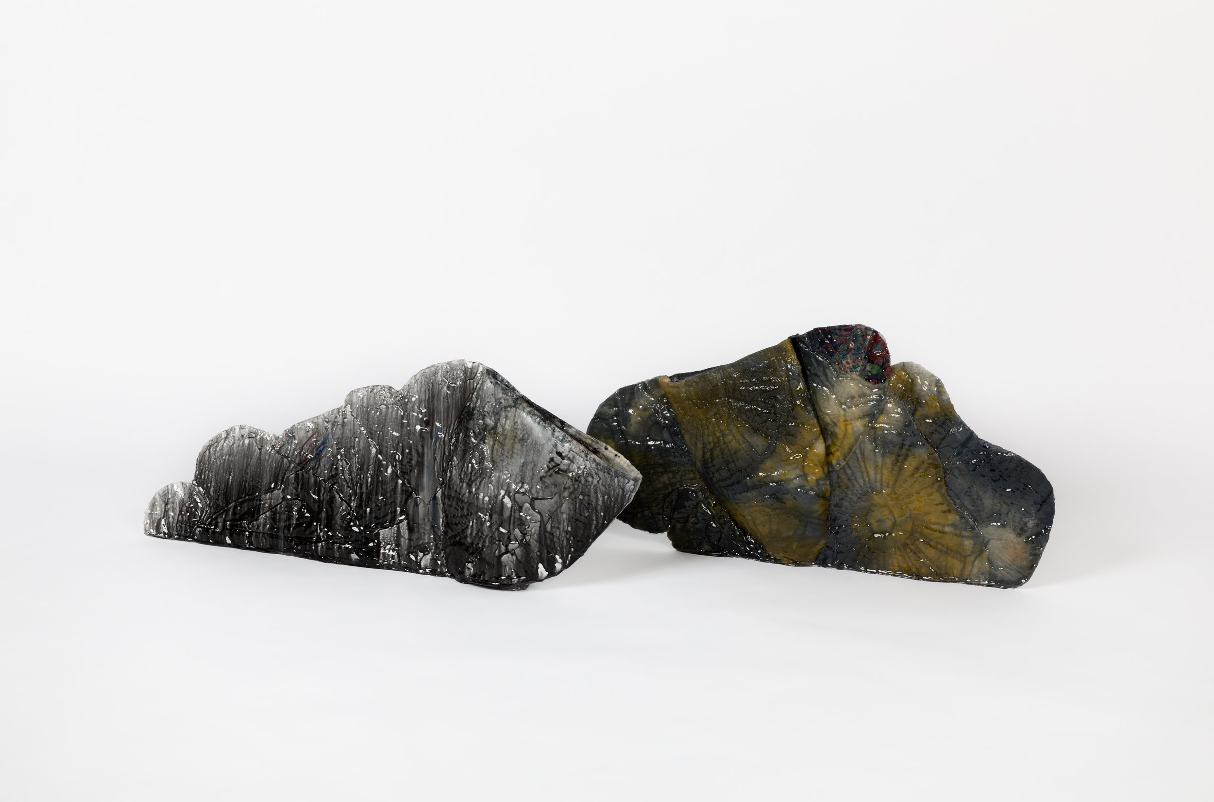 Vadis Turner,  Black and White Quilt Vessel and Leaning Cloud Quilt Vessel  (2018). Image by John Schweikert. Courtesy of Zeitgeist Gallery.