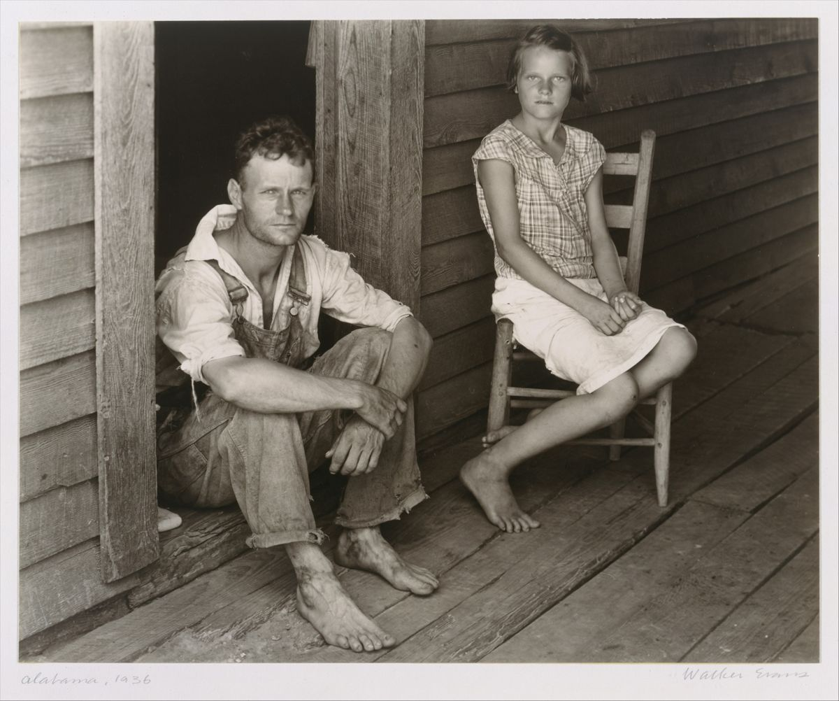 Walker Evans,  Floyd and Lucille Burroughs on Porch, Hale County, Alabama  (1936)