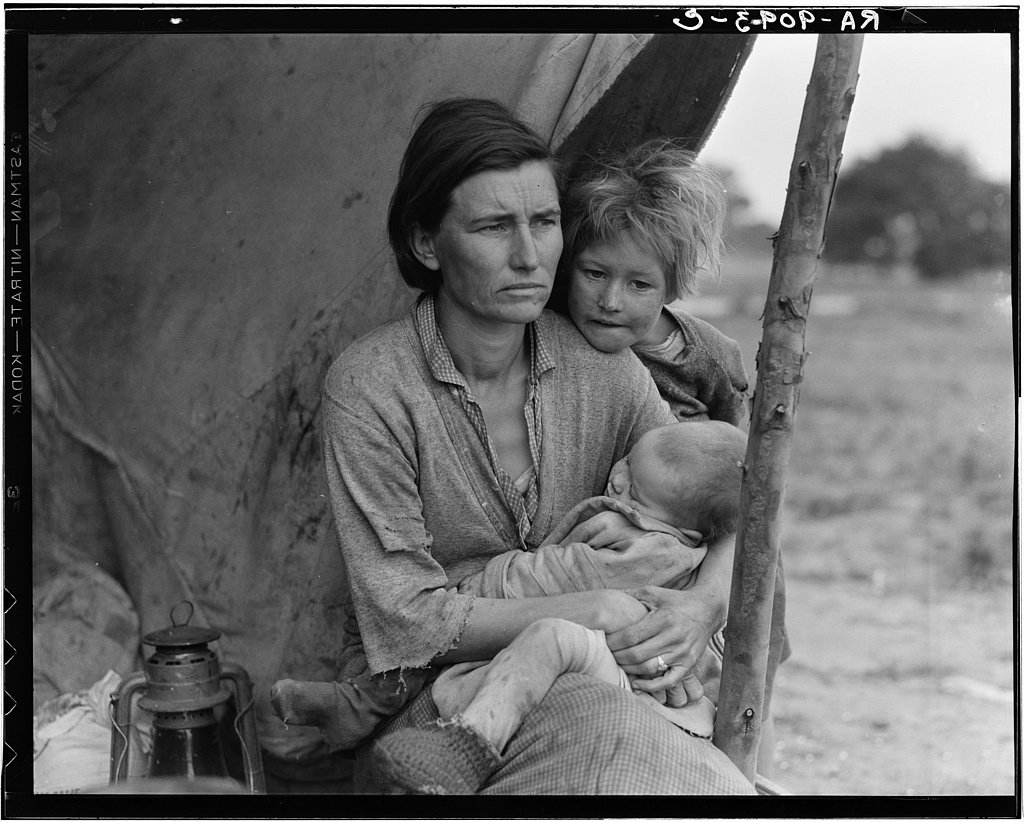 Dorothea Lange,  Migrant agricultural worker's family. Seven children without food. Mother aged 32, father is a native Californian,  (1936)