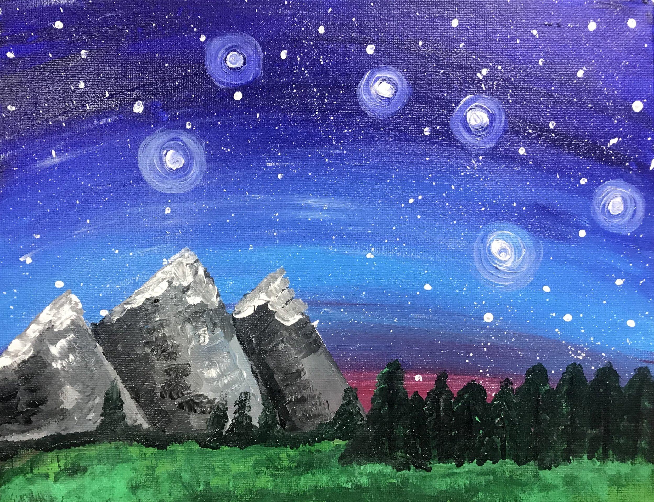 Starry Mountain Scene