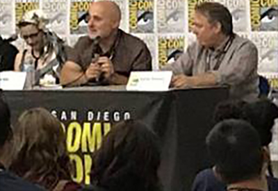 With David Brin & Gail Carriager at ComicCon.
