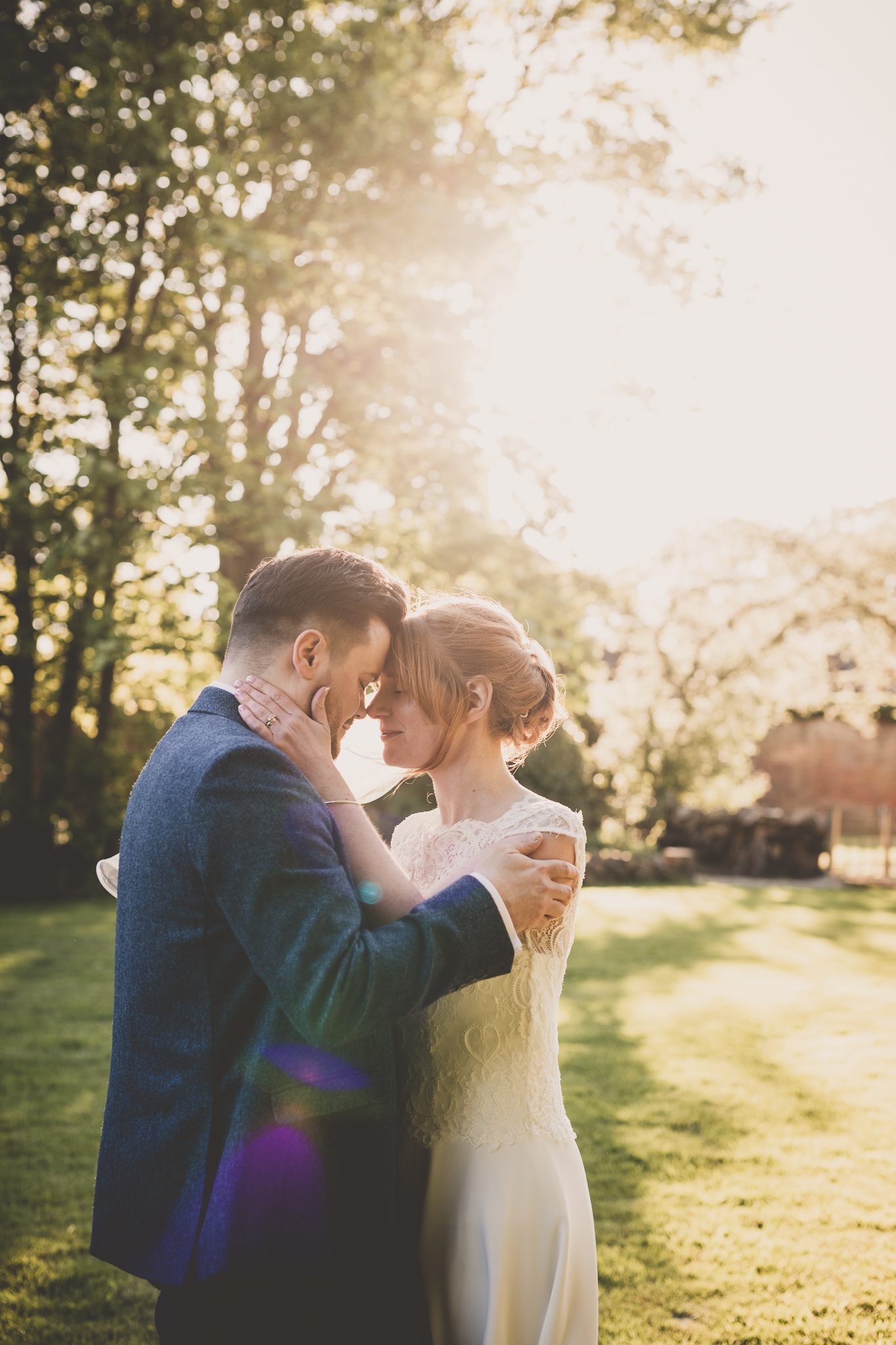 Staffordshire wedding photography bride and groom at golden hour, Somerford Hall