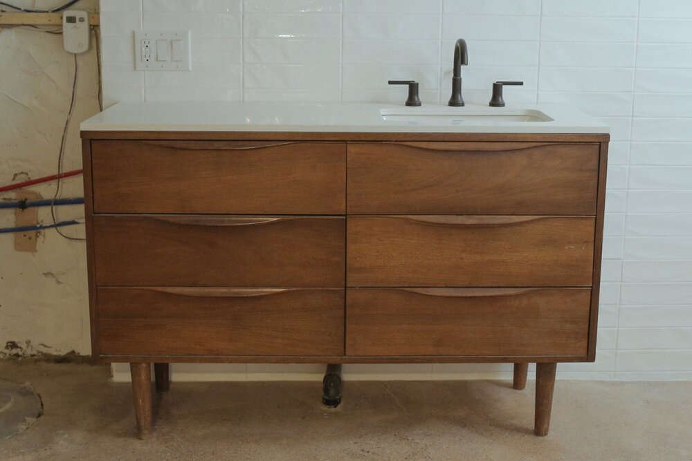 I Diy D A Thrifted Dresser Into A Pinterest Bathroom Vanity The Sorry Girls