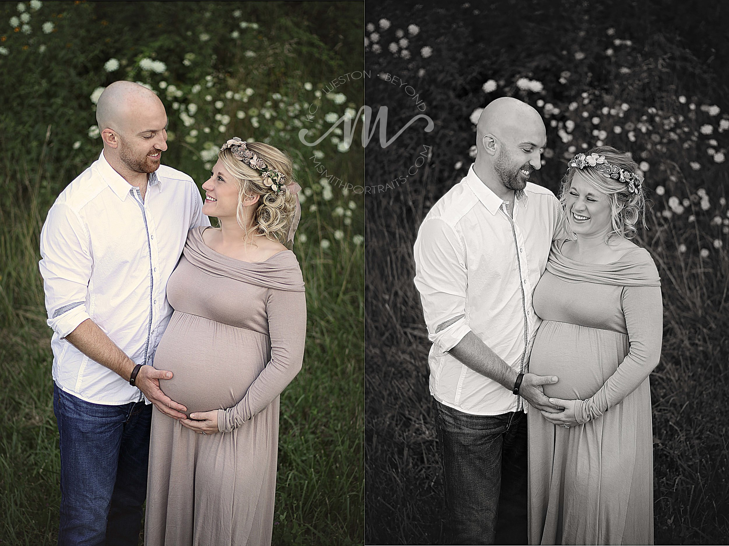 Maternity picture in wildflowers