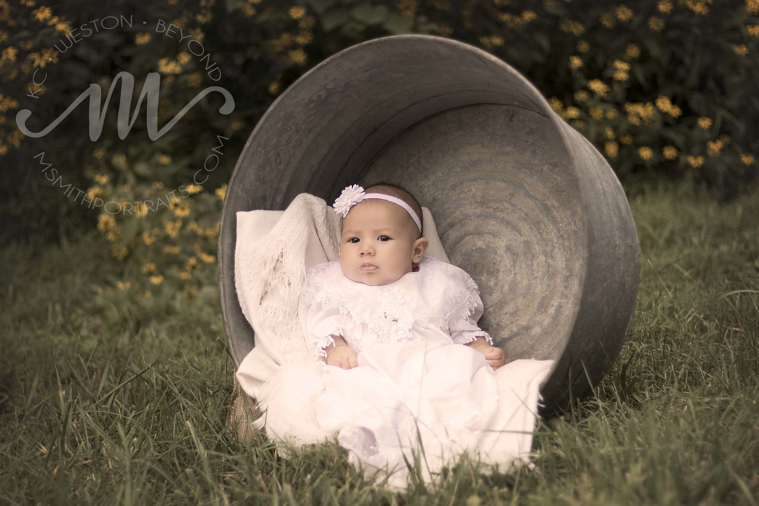 Baby Girl in Antique Washtub Picture