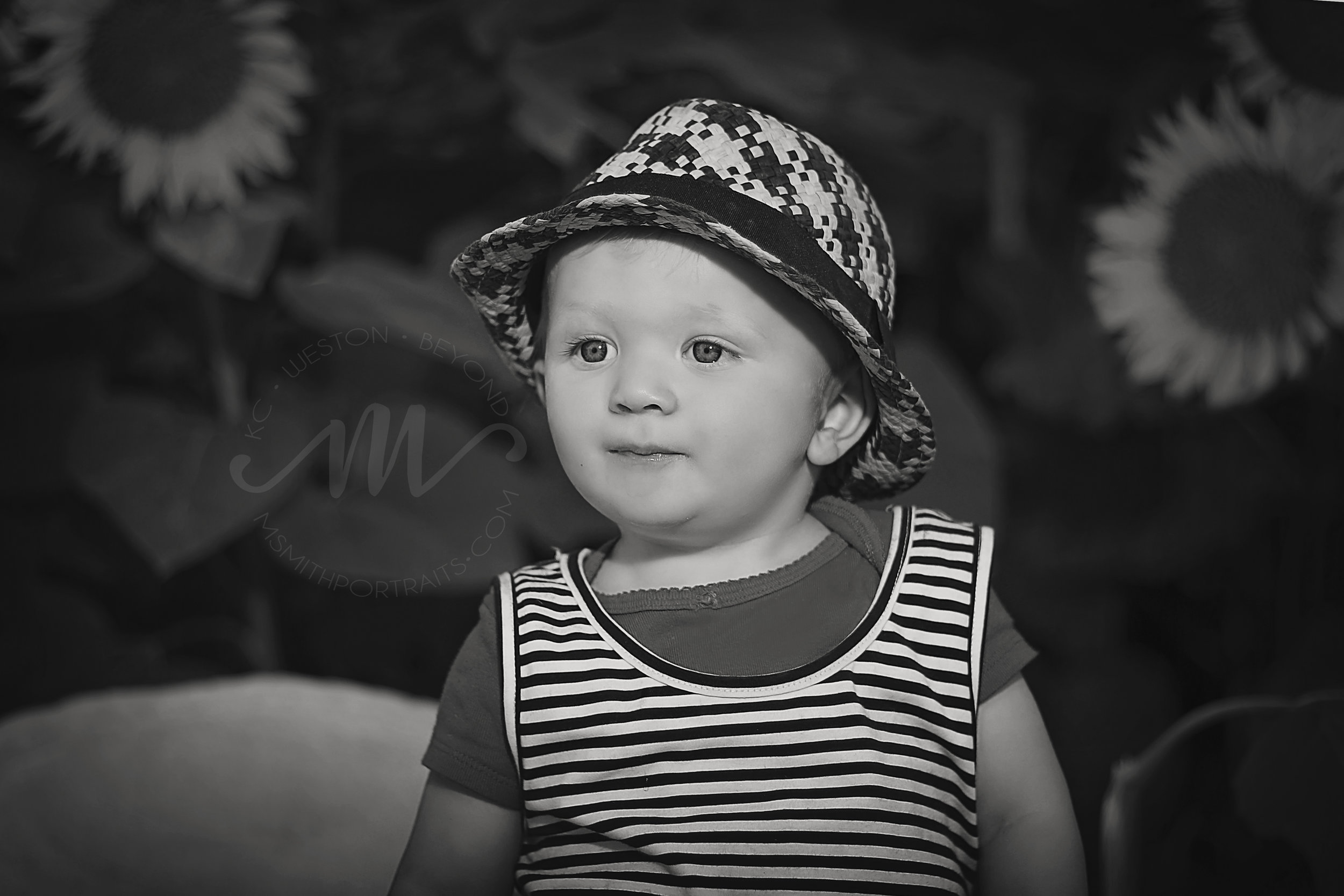 Black and White Photo of Toddler Boy
