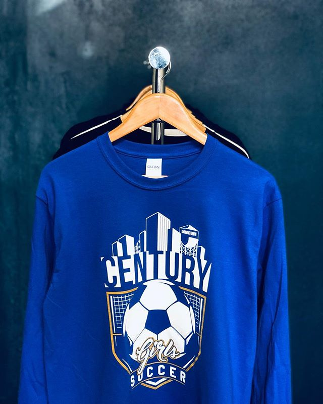 It's a rare rainy day here in Orange County, which makes it a perfect day to rock these long sleeve tees we printed for @century.girls.soccer 🤘🏼 Gotta rep your city while you're tearing it up on the field. Here's hoping for a win at their game tomorrow!